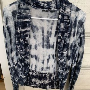 Nic+ zoe blue and white open front cardigan
